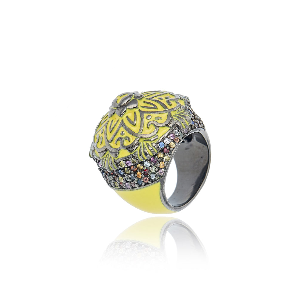 Sterling Silver Statement Ring With Lemon Enamel & Mixed Sapphires