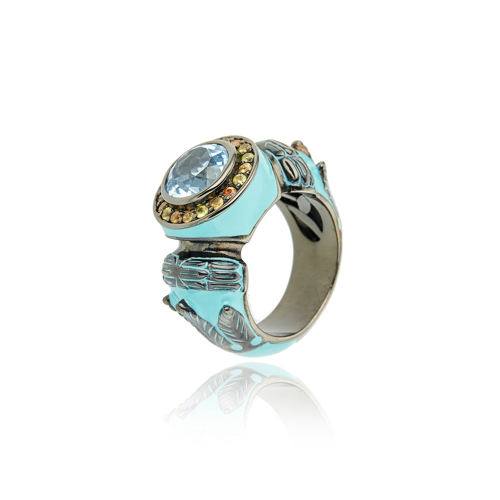 MCL Design Sterling Silver Statement Ring with Mint Enamel, Warm Mixed Sapphires & Blue Topaz