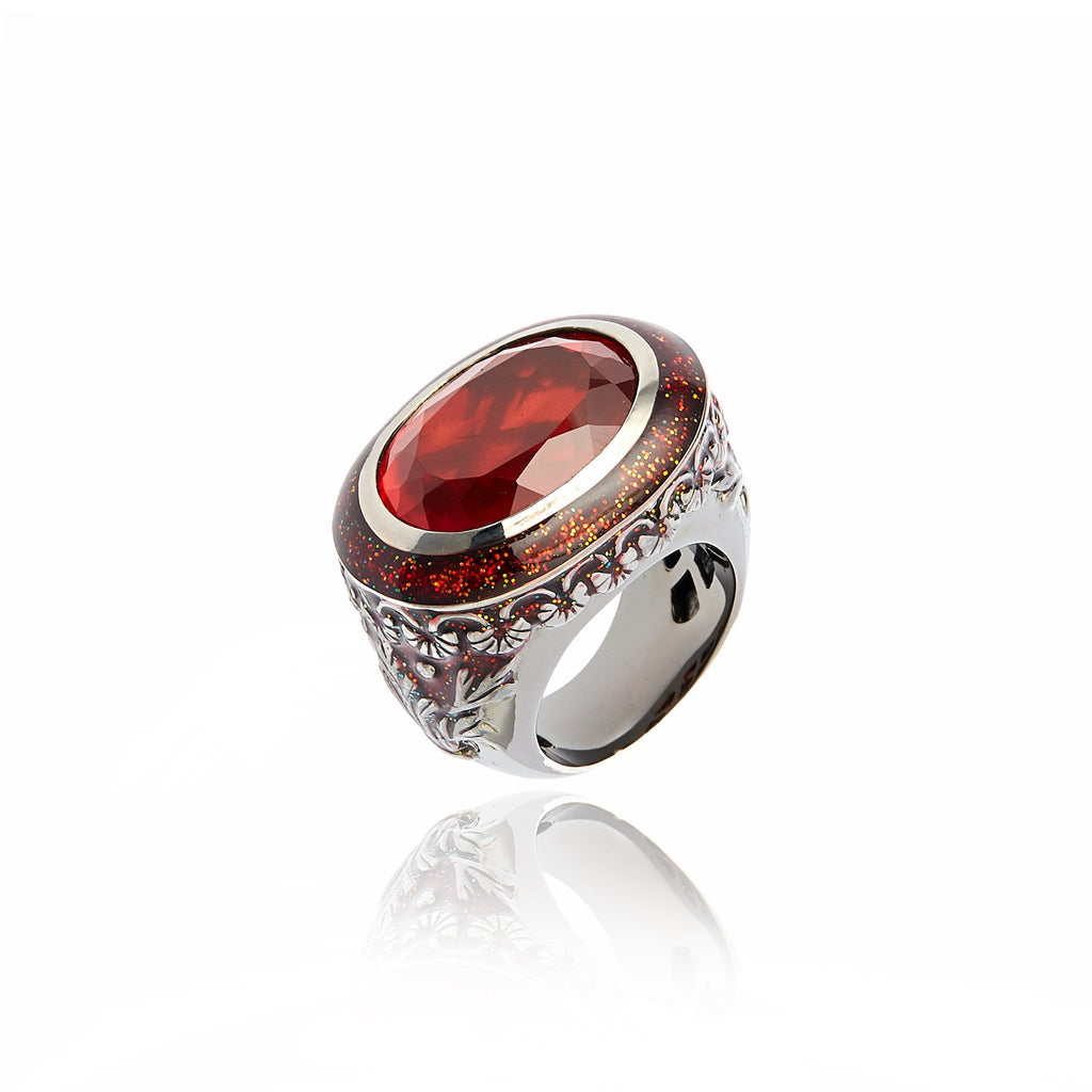 MCL Design Sterling Silver Statement Ring with Xmas Red Glitter Enamel & Red Quartz