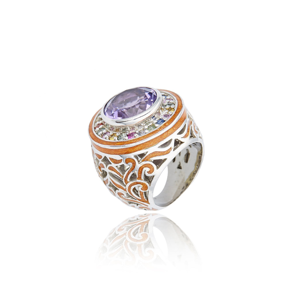 Sterling Silver Statement Ring With Dark Orange Glitter Enamel, Mixed Sapphires & Amethyst