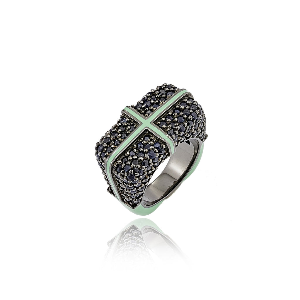 Sterling Silver Statement Ring With Ocean Green Enamel & Black Spinel