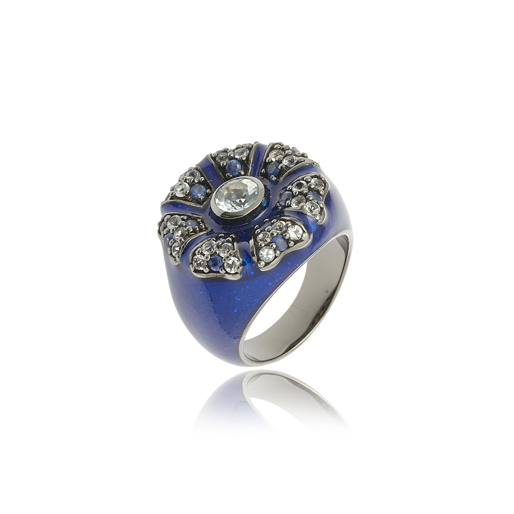 Sterling Silver Statement Ring With Royal Blue Gum Glitter Enamel, Mixed Ice Sapphires & Blue Topaz