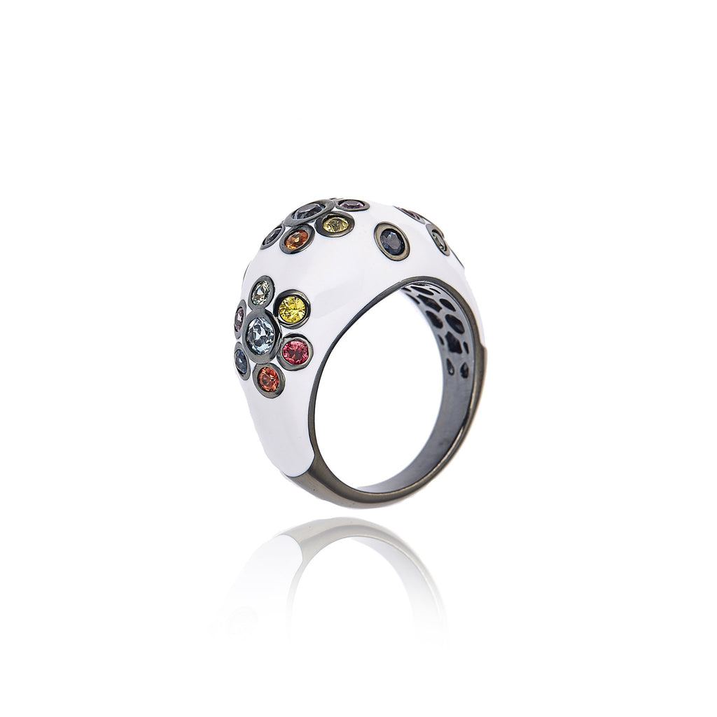 MCL Design Sterling Silver Statement Ring with White Enamel, Mixed Sapphires & Blue Topaz