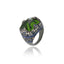 MCL Design Sterling Silver Statement Ring with Dark Purple Oil Enamel, Mixed Ice Sapphires & Moldavite
