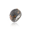 Sterling Silver Statement Ring With Dirty Straw Enamel & Black Spinel