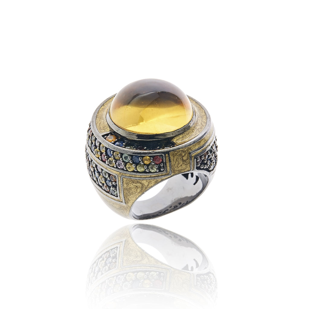 MCL Design Sterling Silver Statement Ring with Metallic Olive Enamel, Mixed Sapphires and Citrine