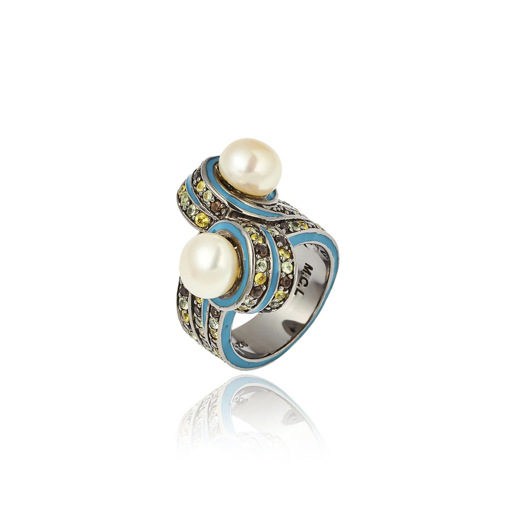 Sterling Silver Statement Ring With Jamie Blue Enamel, Mixed Army Sapphires & White Pearl