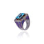 Sterling Silver Statement Ring With Light Purple Glitter Enamel, Mixed Sapphires & Blue Topaz