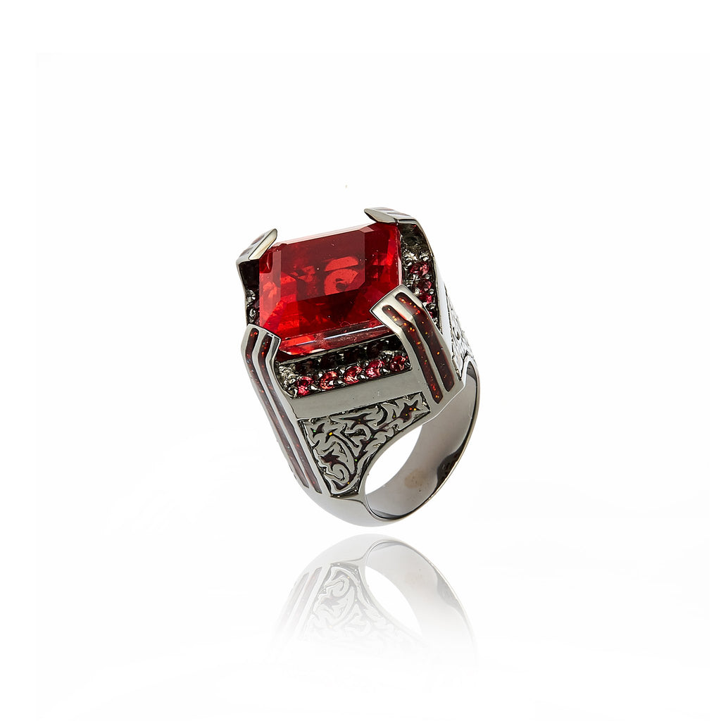 MCL Design Sterling Silver Statement Ring with Xmas Red Glitter Enamel, Red Sapphire & Red Quartz