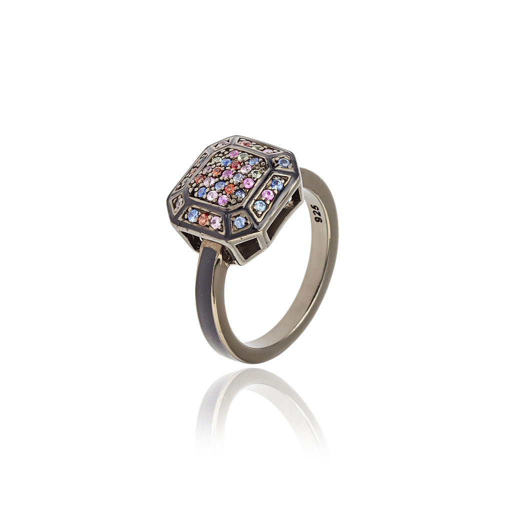 Black Rhodium Plated Sterling Stack Ring With Black Enamel Berry Sapphire