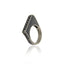 Sterling Silver Statement Ring With Black Enamel & Black Spinel