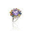MCL Design Sterling Silver Statement Ring with White Enamel, Mixed Sapphires & Amethyst