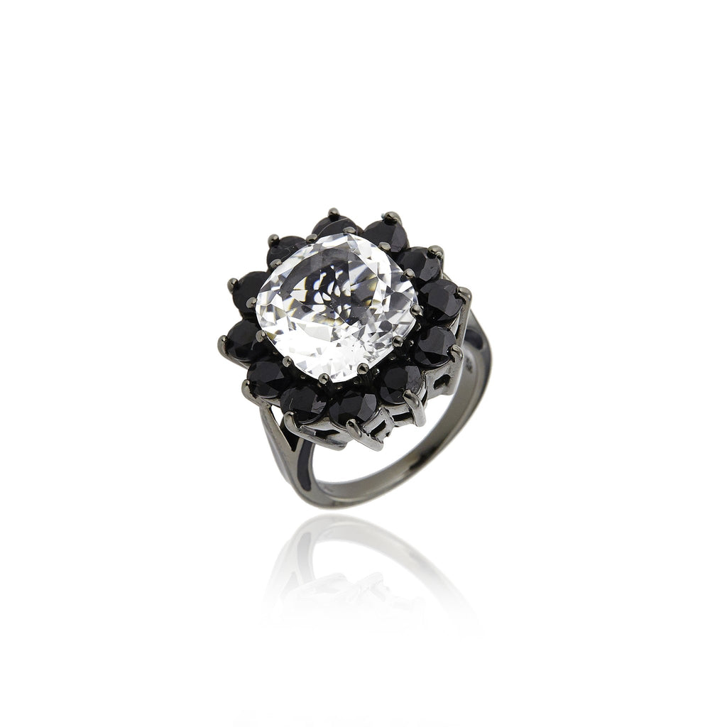 Sterling Silver Statement Ring With Black Enamel, Black Spinel & White Topaz