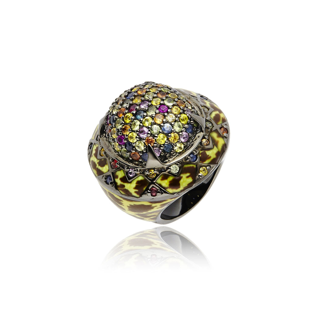 Sterling Silver Statement Ring With Leopard Enamel & Mixed Sapphires