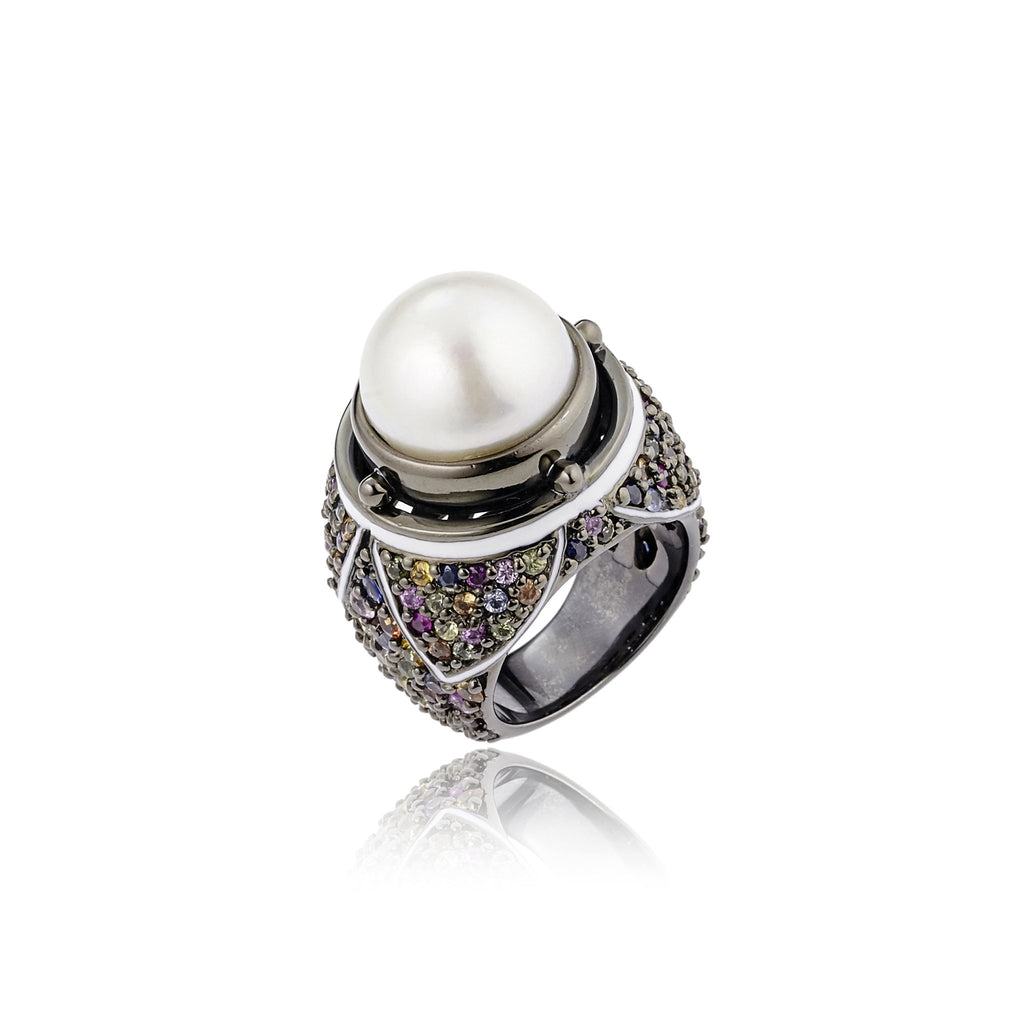 Sterling Silver Statement Ring With White Enamel, Mixed Sapphires & White Pearl