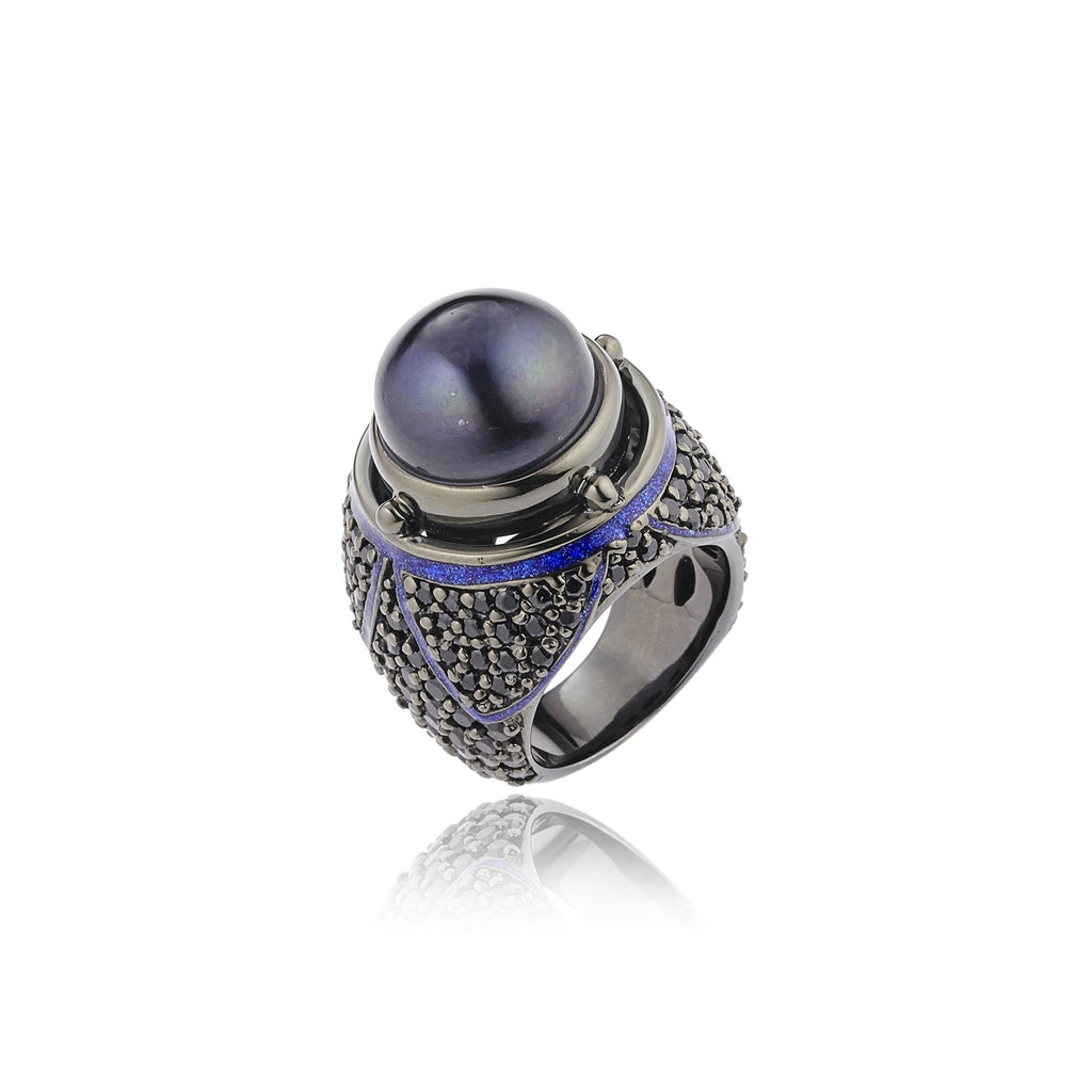 Sterling Silver Statement Ring With Dark Purple Oil Enamel, Black Spinel & Black Pearl