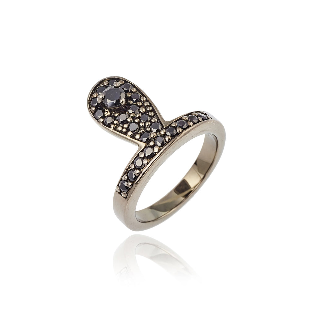 Sterling Silver Stack Ring With Black Spinel & Onyx