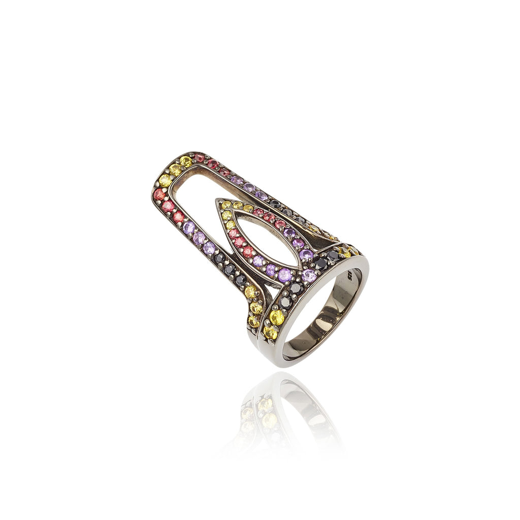 Black Rhodium Plated Sterling Stack Ring Set With Yellow Sapphire Red Sapphire Black Spinel and Amethyst