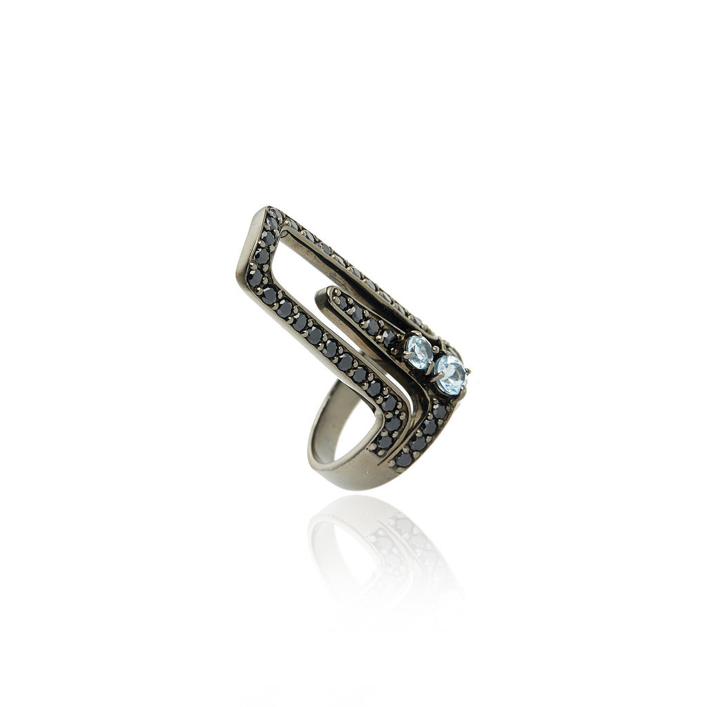 Black Rhodium Plated Sterling Statement Ring Set With Black Spinel and Blue Topaz