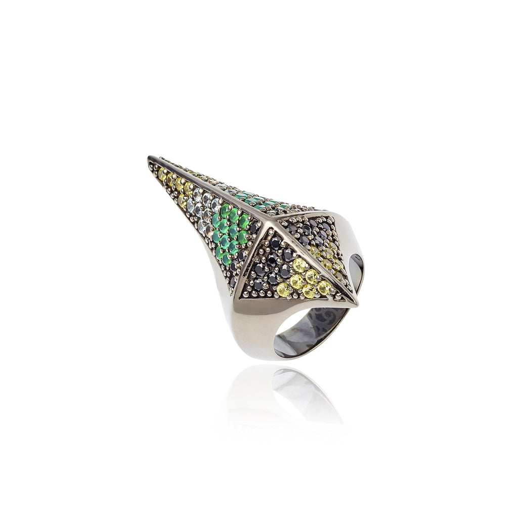 Sterling Silver Stack Ring With Yellow Sapphire, Blue Topaz, Green Agate & Black Spinel