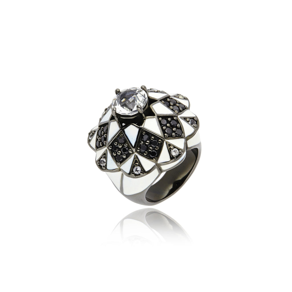 Sterling Silver Statement Ring With White Enamel, Black Spinel & White Topaz