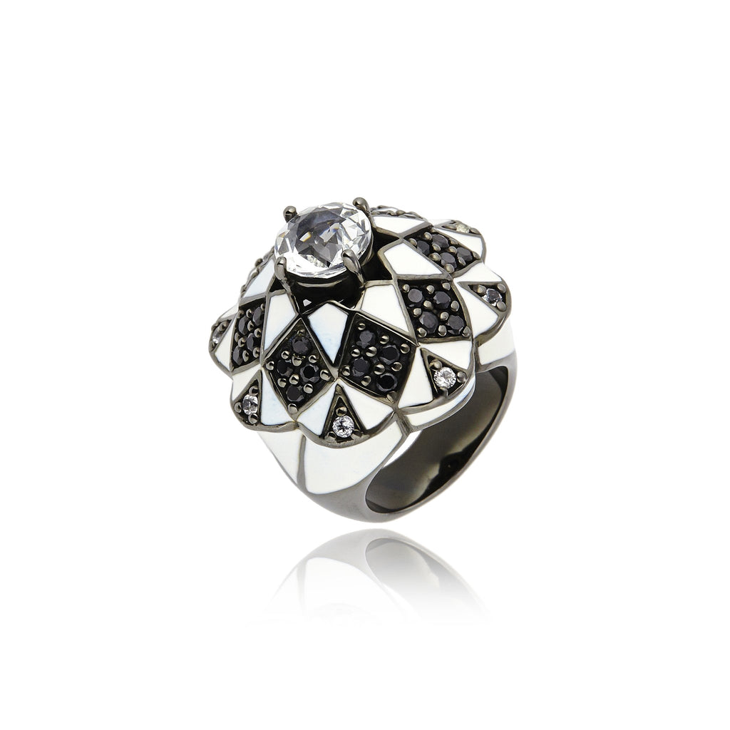 MCL Design Sterling Silver Statement Ring with White Enamel, Black Spinel & White Topaz