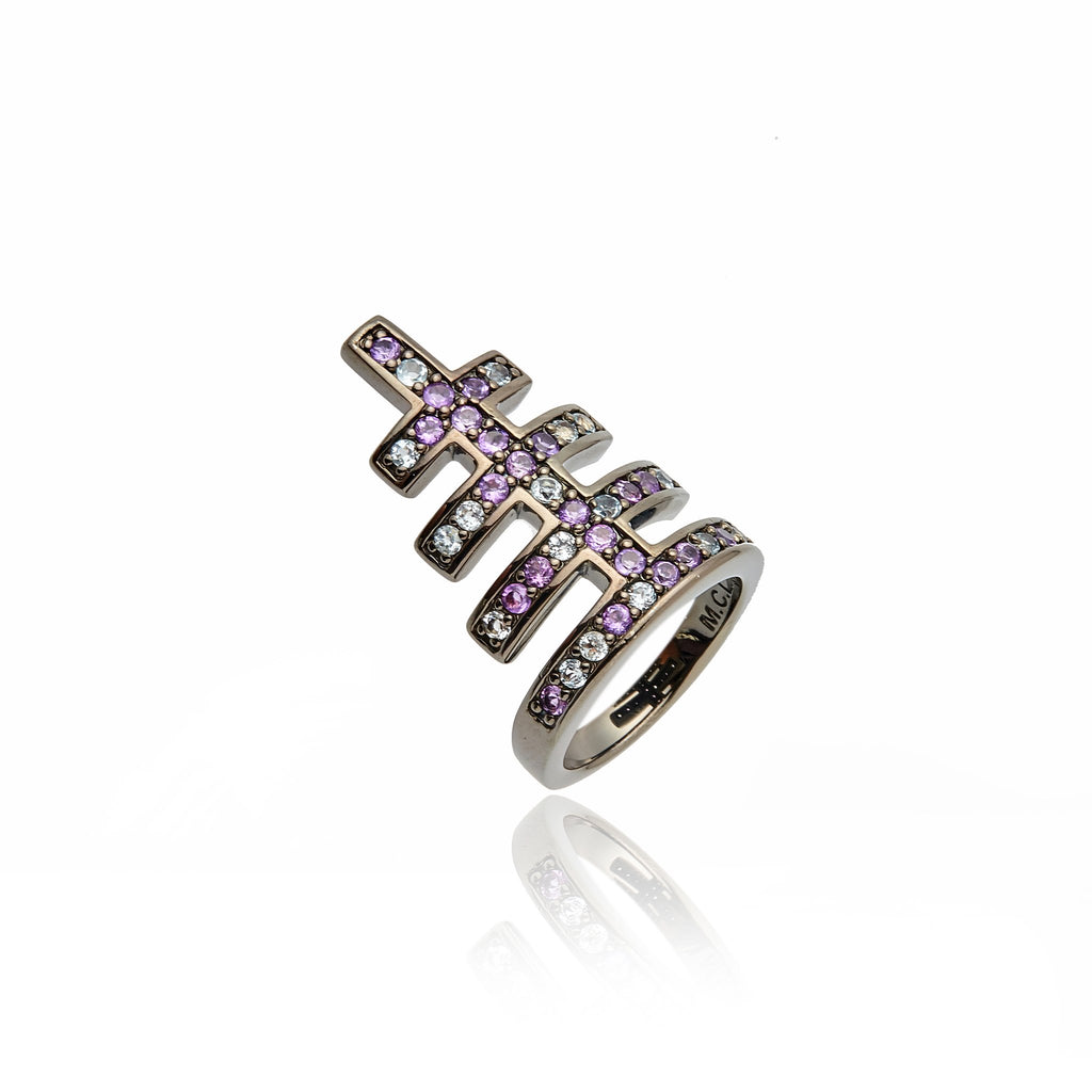 Sterling Silver Stack Ring With Amethyst & Blue Topaz