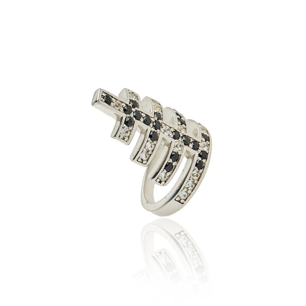 Sterling Silver Stack Ring With Black Spinel & White Topaz