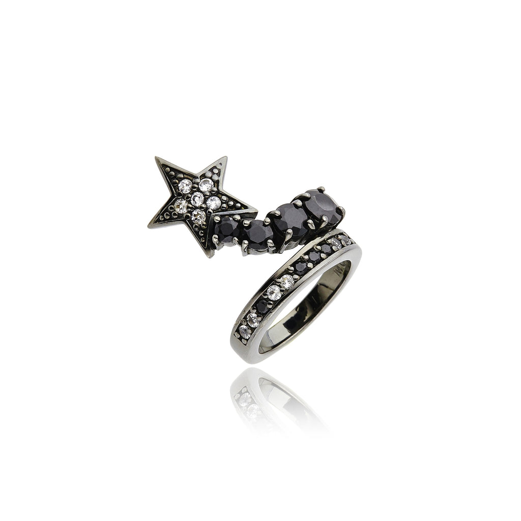 Black Rhodium Plated Sterling Stack Ring Set With WhIte Topaz and Balck Spinel