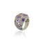 Sterling Silver Stack Ring With Light Purple Glitter Enamel, White Topaz & Amethyst