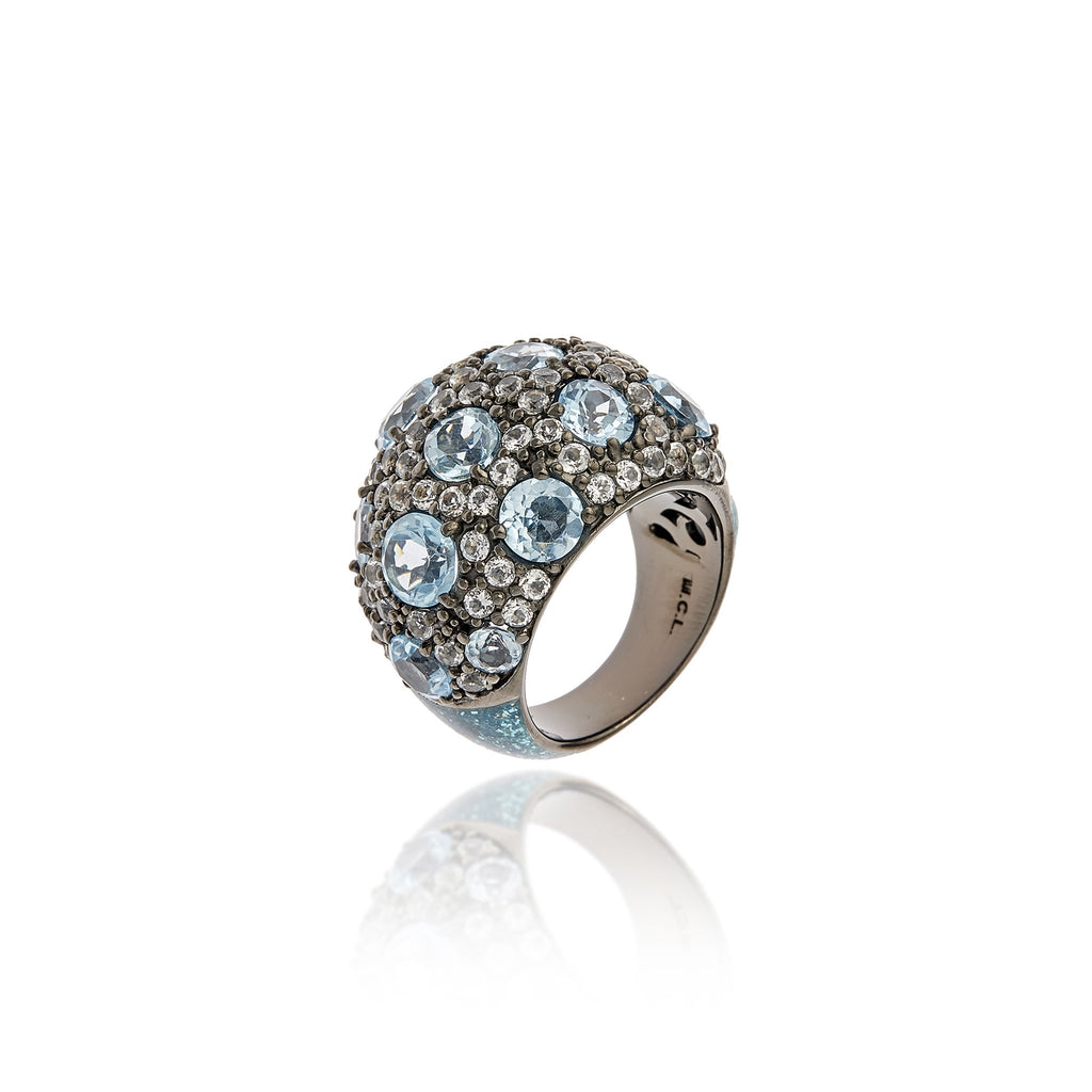 Sterling Silver Statement Ring With Royal Blue Glitter Enamel, White Topaz & Blue Topaz