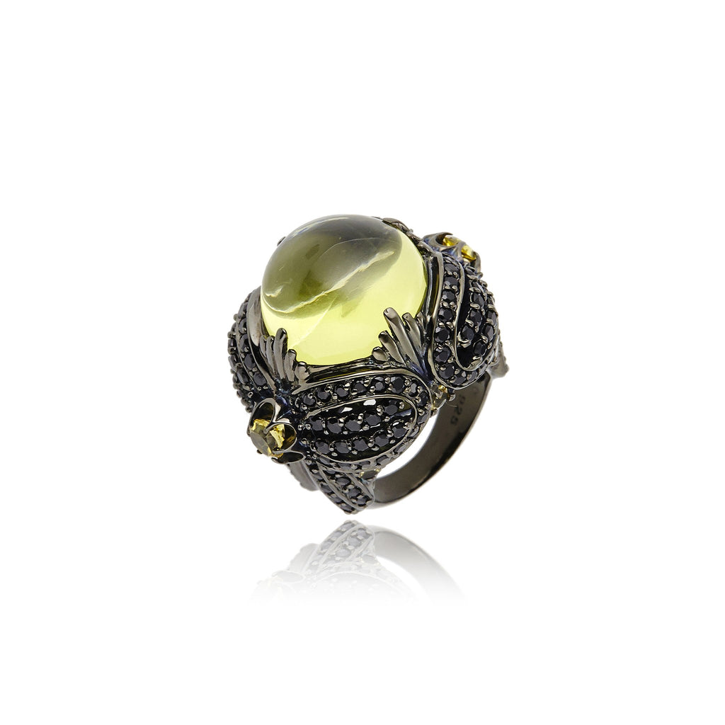 Sterling Silver Statement Ring With Black Spinel & Lemon Citrine