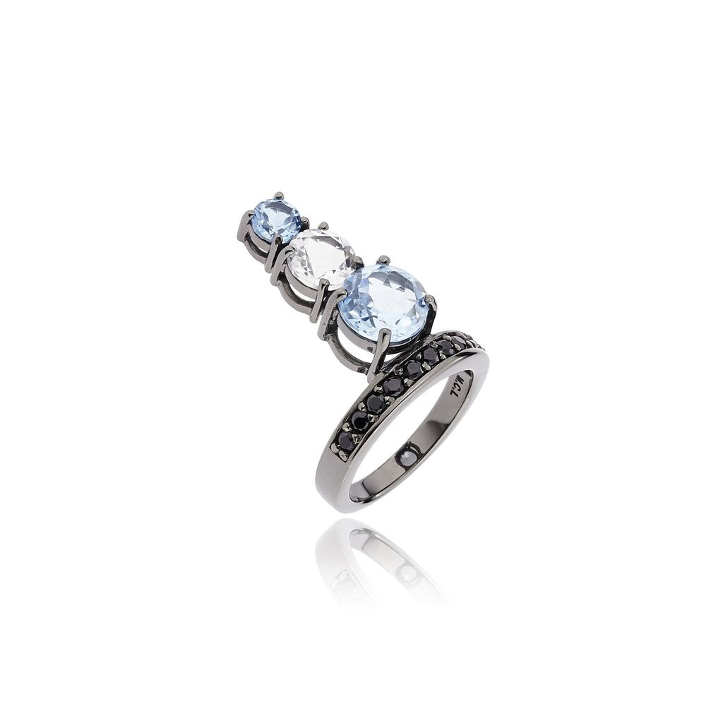 Sterling Silver Stack Ring With Black Spinel, White Topaz & Blue Topaz