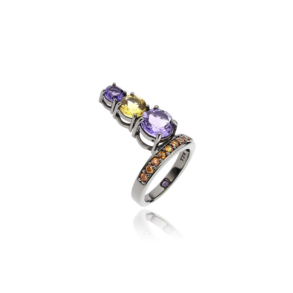 Sterling Silver Stack Ring With Red Sapphire, Citrine & Amethyst