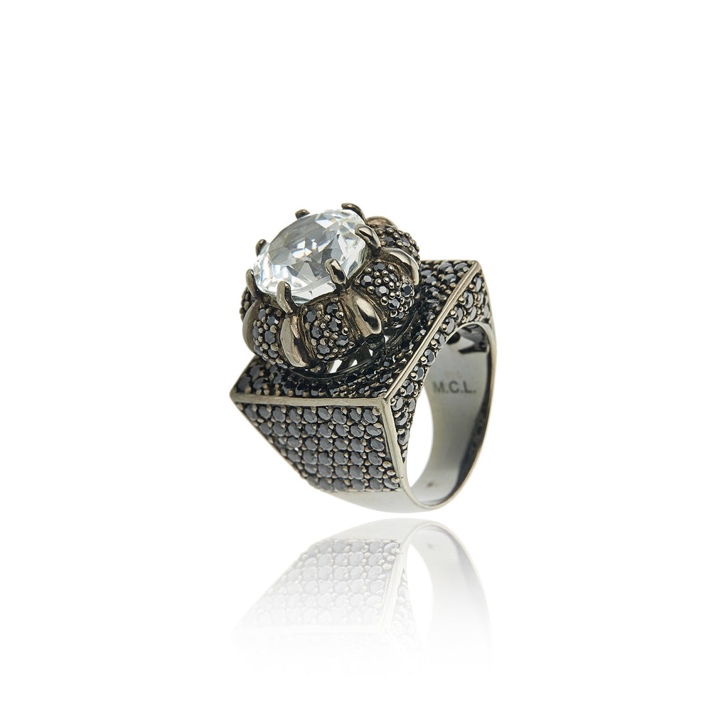 Sterling Silver Statement Ring With Black Spinel & White Topaz