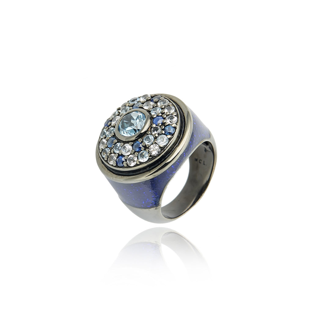 MCL Design Sterling Silver Statement Ring with Royal Blue Gum Glitter Enamel, Mixed Ice Sapphires & Blue Topaz