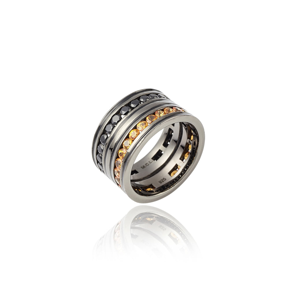 Sterling Silver Stack Ring With Black Enamel, Orange Sapphire & Black Spinel