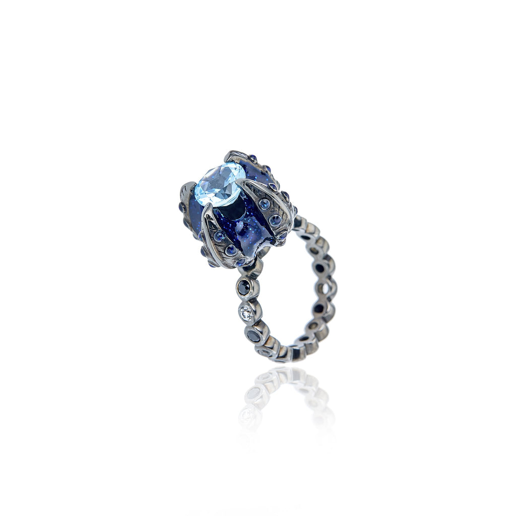 Sterling Silver Stack Ring With Royal Blue Gum Glitter Enamel,  Black Spinel, White Topaz & Blue Topaz