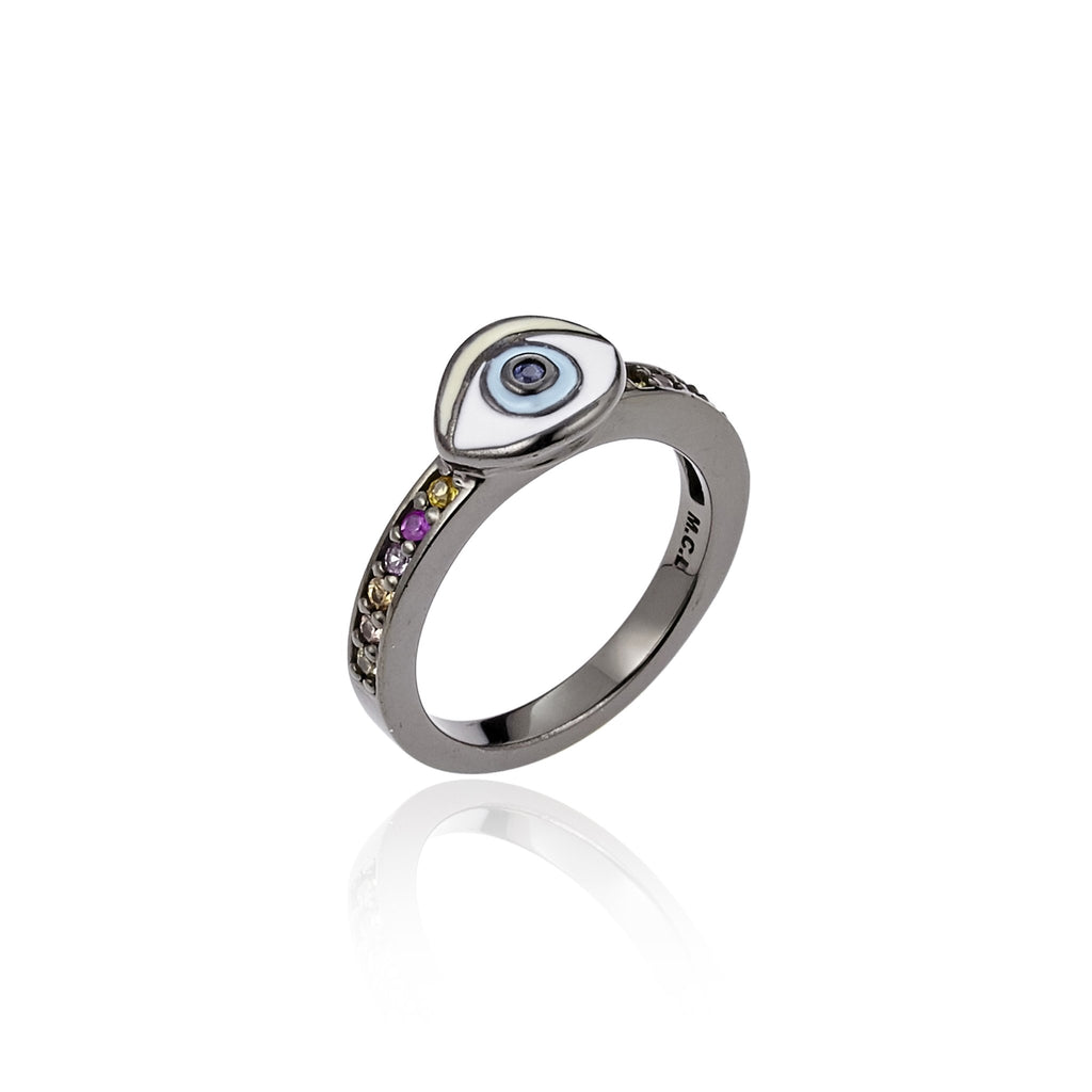 Sterling Silver Stack Ring With Enamel Eye & Mixed Sapphires
