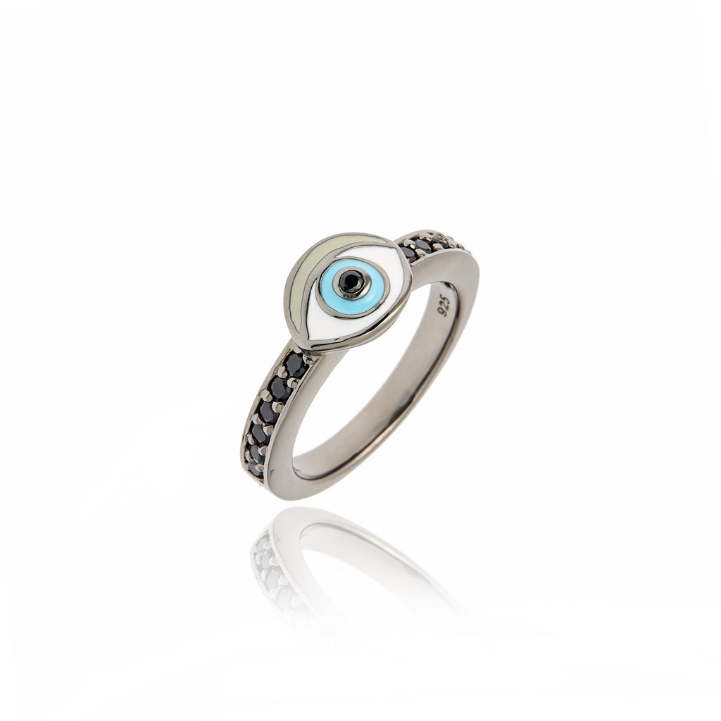Sterling Silver Stack Ring With Baby Blue, White and Taupe Enamel & Black Spinel