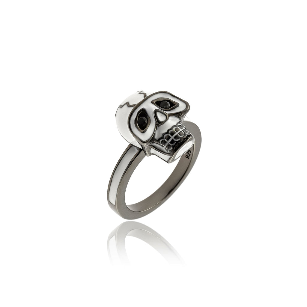 Sterling Silver Stack Ring With White Enamel & Black Spinel
