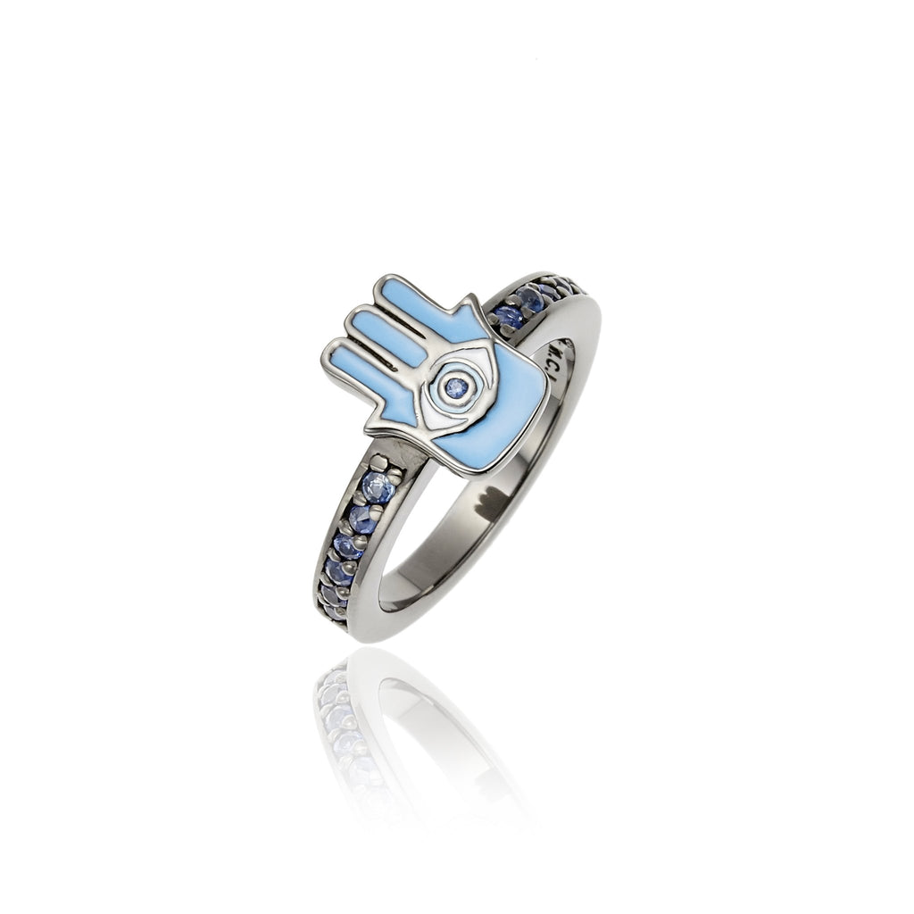 Sterling Silver Stack Ring With Baby Blue, White and Midday Blue Enamel & Blue Sapphire