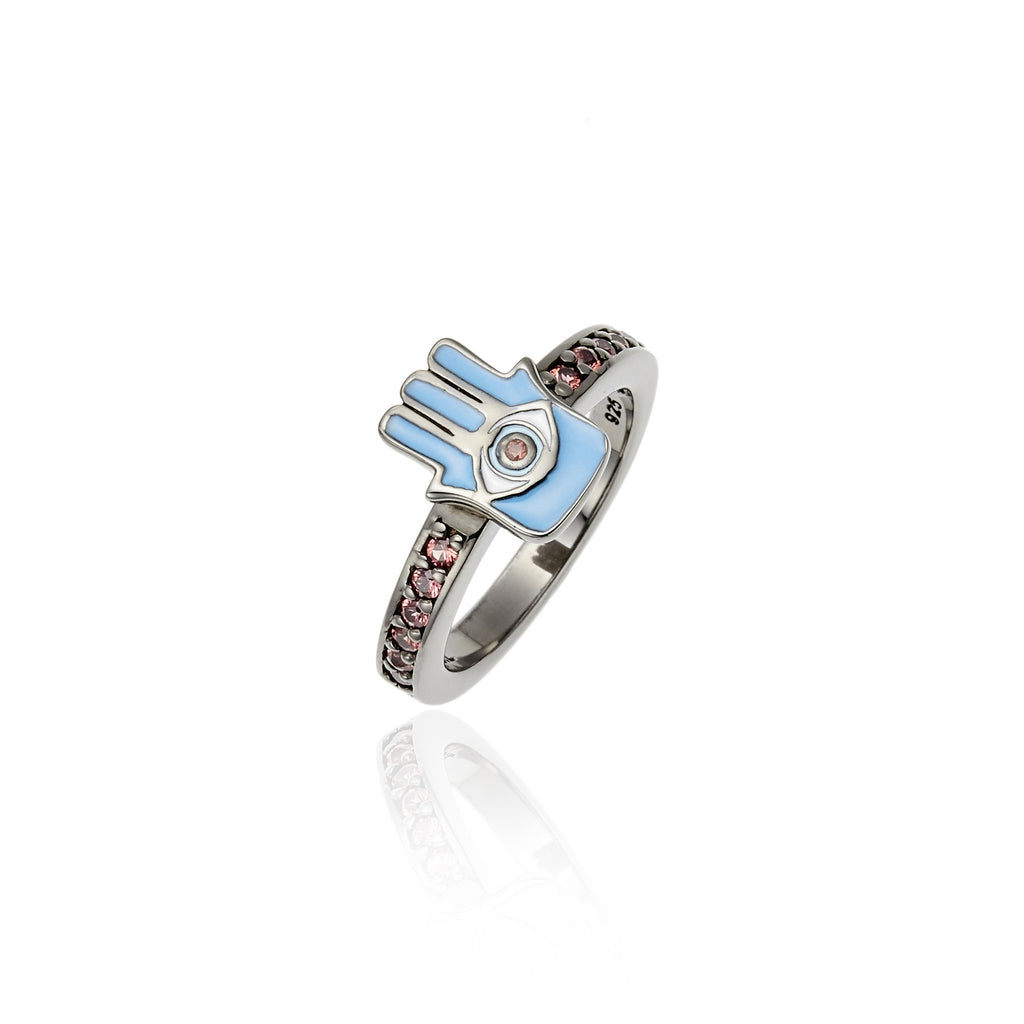 Black Rhodium Plated Sterling Stack Ring With Baby Blue With and Mindy Blue Enamel Red Sapphire