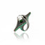 MCL Design Sterling Silver Statement Ring with Mid Green Glitter Enamel, Black Spinel, Moldavite & White Topaz