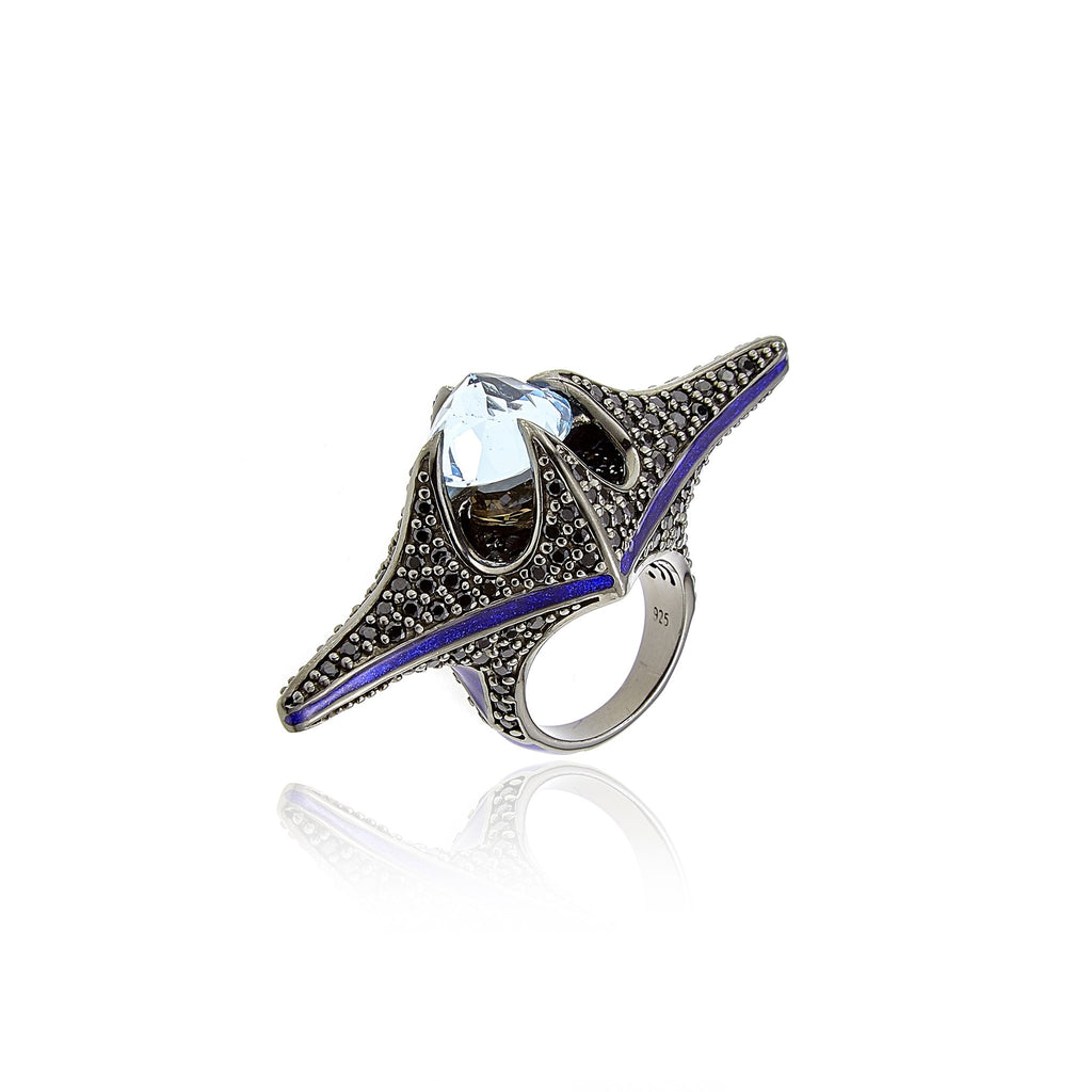Sterling Silver Statement Ring With Deep Purple Glitter Enamel, Black Spinel, Smoky Quartz & Blue Topaz