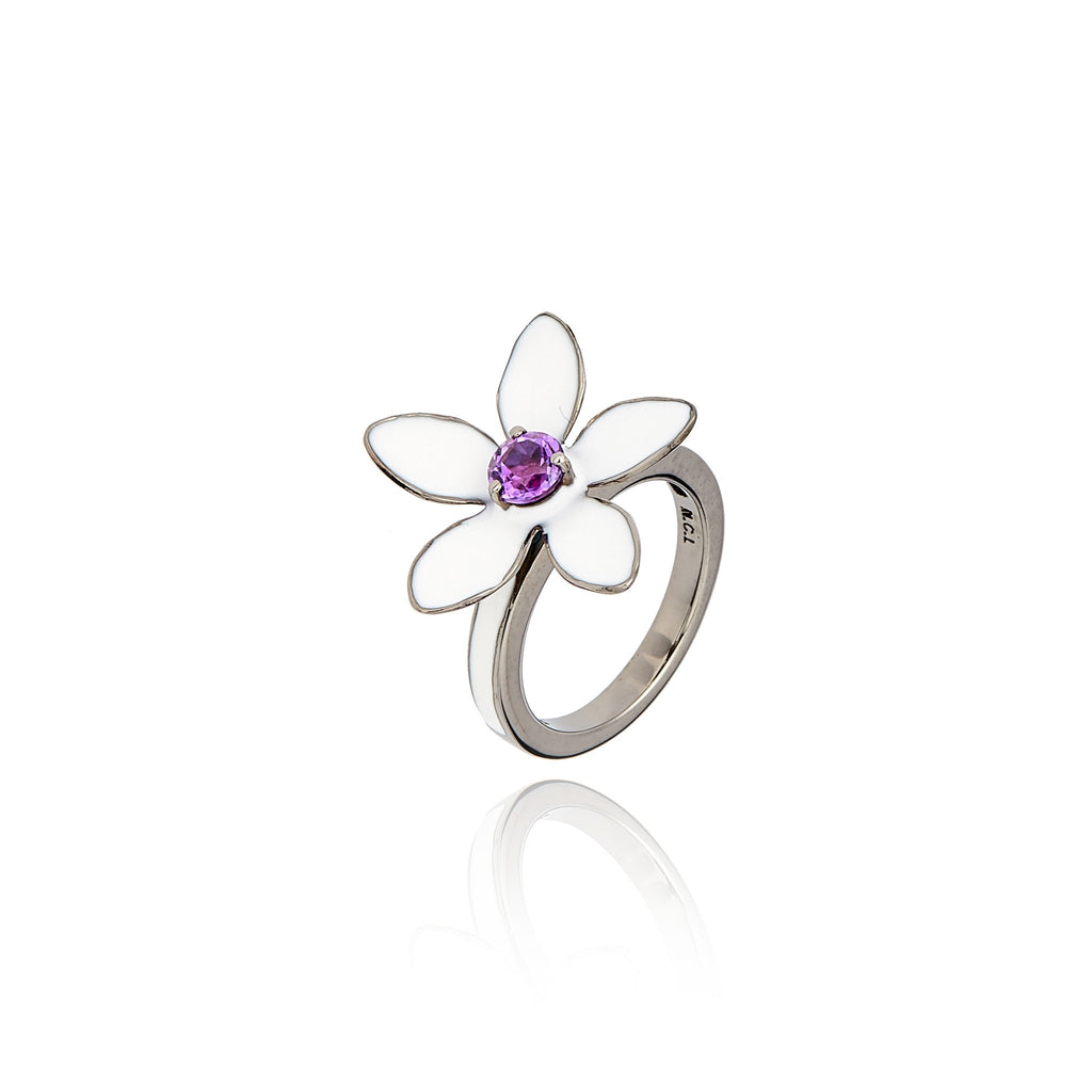 Sterling Silver Stack Ring With White Enamel & Amethyst