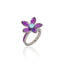 Sterling Silver Stack Ring With Light Purple Glitter Enamel & Blue Topaz