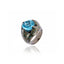 Sterling Silver Statement Ring With Laser Green Glitter Enamel & Blue Topaz