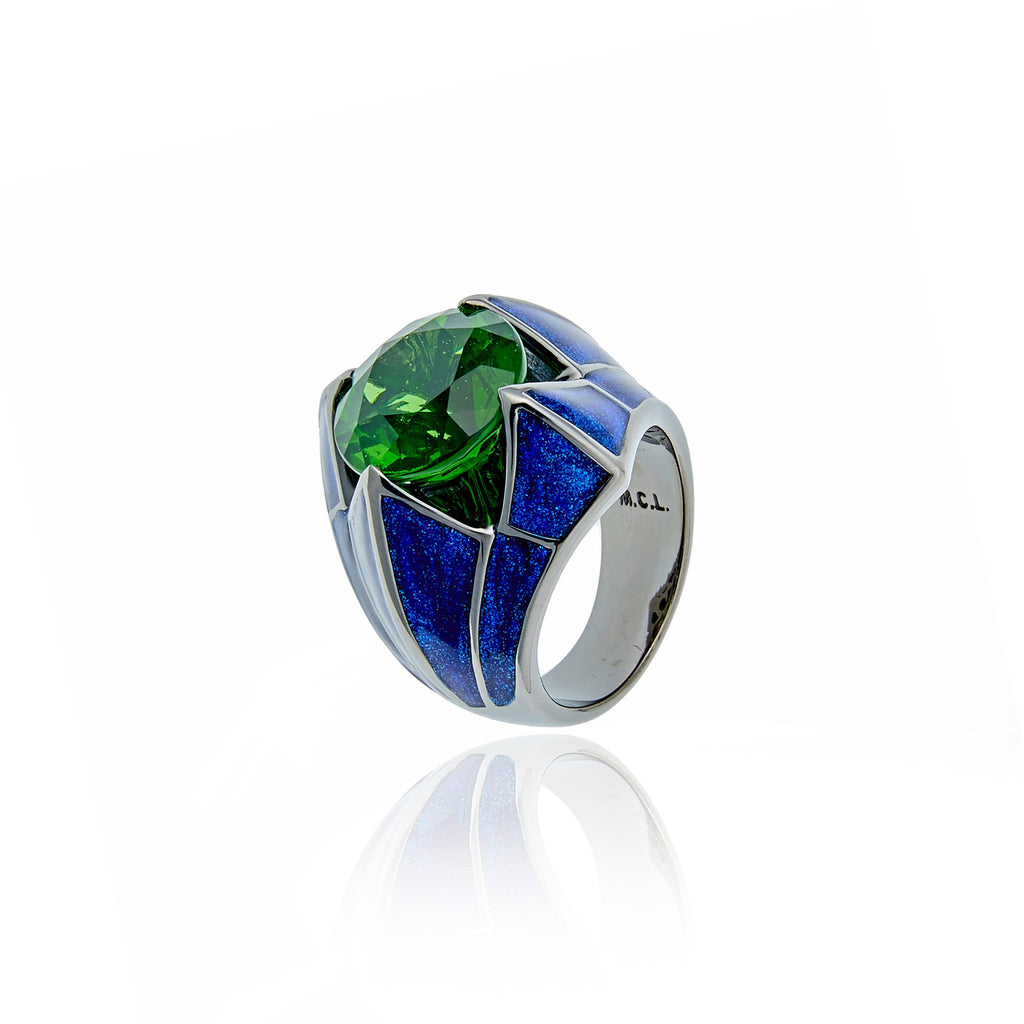 Sterling Silver Statement Ring With Royal Blue Glitter Enamel & Moldavite