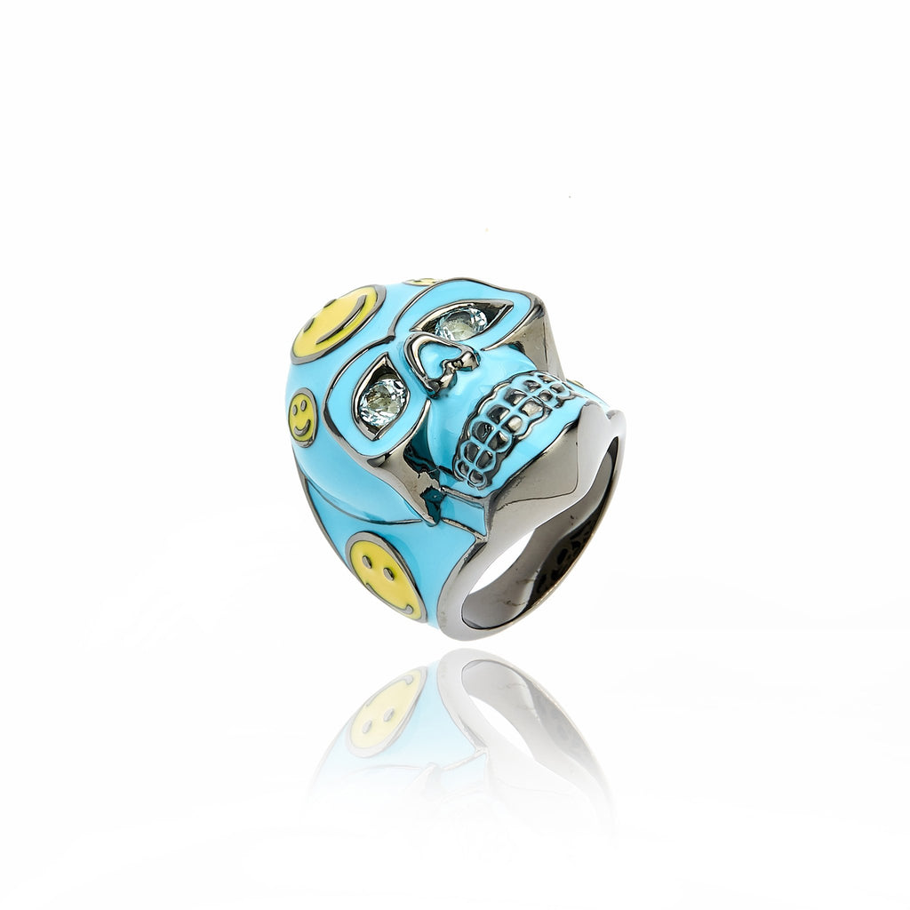 Black Rhodium Plated Sterling Statement Ring With Baby Blue Lemon Enamel Blue Topaz